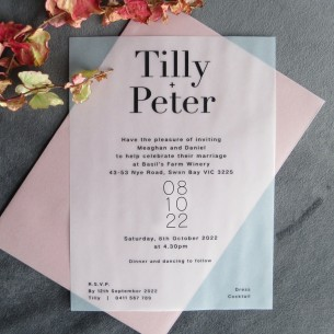 Transparent vellum Belle wedding invitation