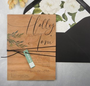 printed on wood! rules of attraction invitation
