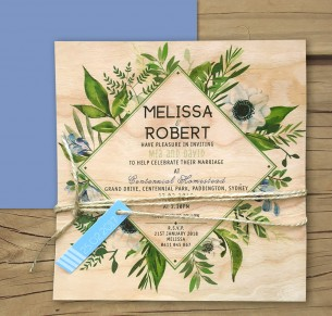 printed on wood! evergreen invitation