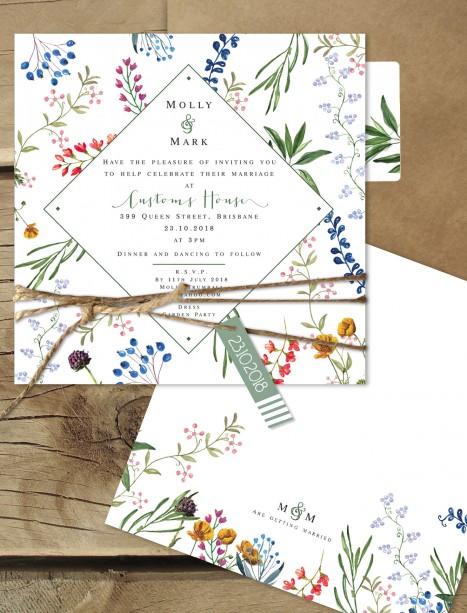 Florence flat card invitation