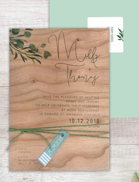 Printed on wood! eucalypt fresh invitation