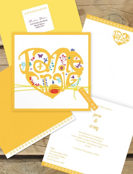 heart typography invitation