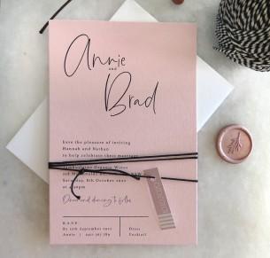 Blush the Brad wedding invitation