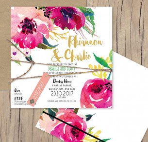 Une Fleur watercolour flat card invitation