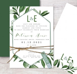 Garden state flat card wedding invitation