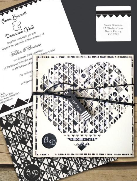 aztec hearted milk laser cut wedding invitation