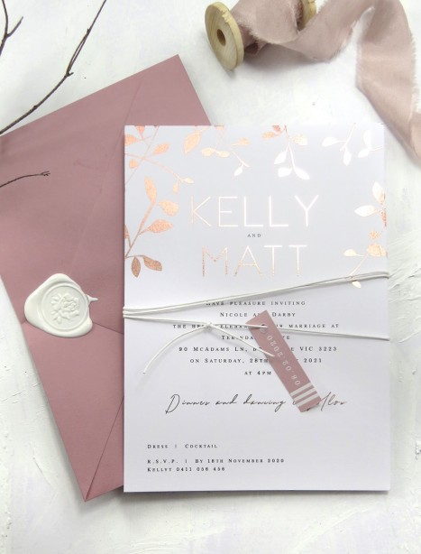 metallic rose gold and gold foiled autumn leaves invitation