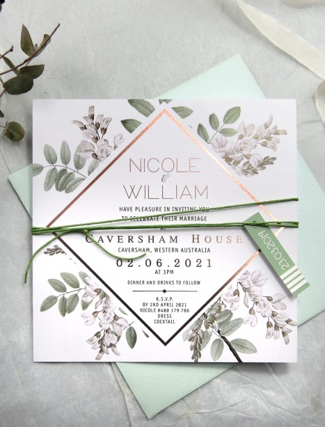 metallic rose gold and gold wildlings invitation