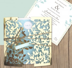 Gold metallic leafy affair laser cut invitation