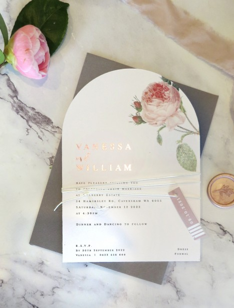 the rose wedding invitation rose gold + arch