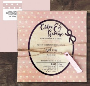 Printed on wood grace kelly invitation