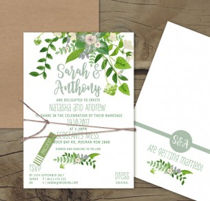 Plant life flat card invitation