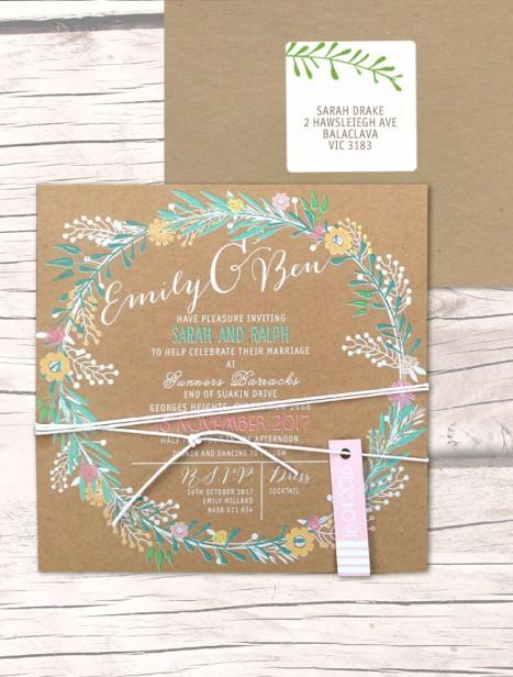 charmed white ink - colour on kraft invitation