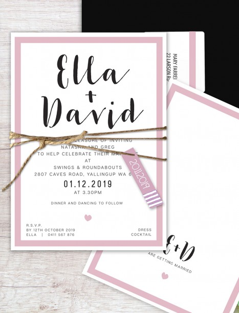 Ella flat card wedding invitation