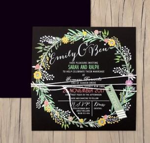 charmed white+colour on black invitation