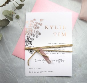 rose gold foil! australian flora invitation