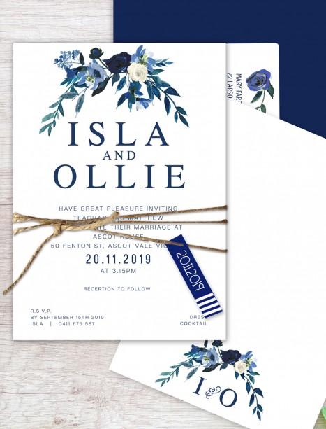 Flower market flat card wedding invitation