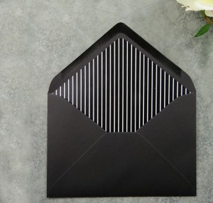 black and white striped envelope liner