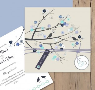 bird and blossom invitation