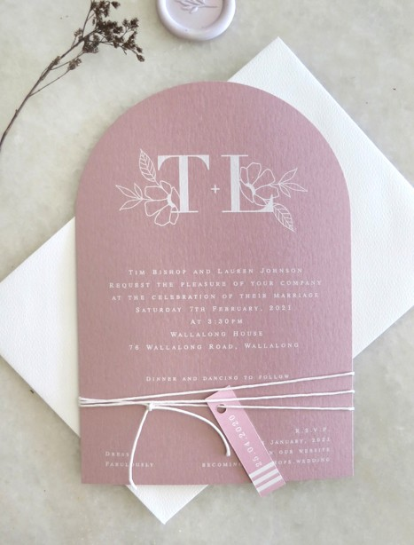 Arch! the romance wedding invitation on wild rose