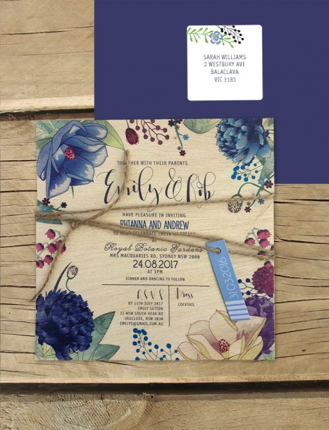 printed in wood! efflorescence invitation