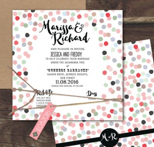 Confetti joy! coloured flat card invitation
