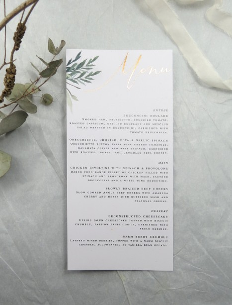 metallic rose gold and gold foil rules of attraction menu