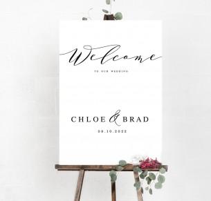 Chloe welcome sign A1 hard board mounted