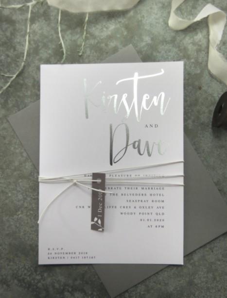 Silver foil! Quick kiss invitation