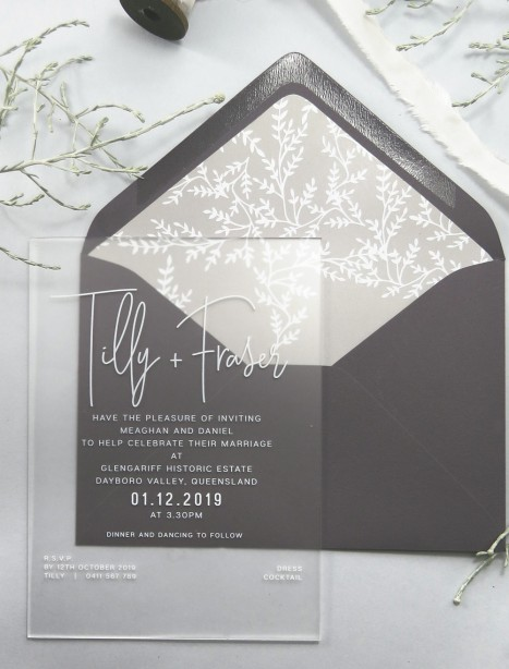 Frosted acrylic tilly invitation
