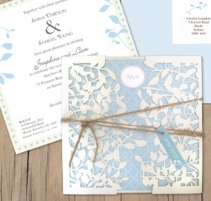 Leafy affair milk laser cut invitation