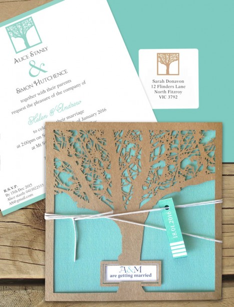 Enchanted tree kraft laser cut invitaton