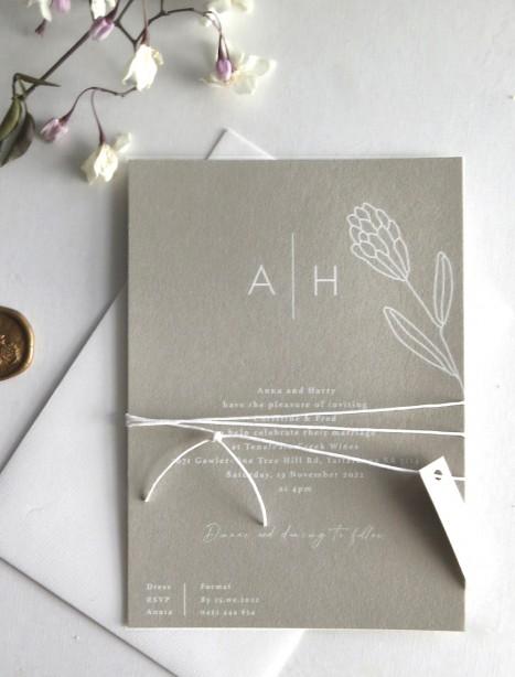 blossom wedding invitation white ink