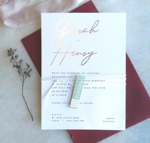 metallic foil rose gold sarah invitation