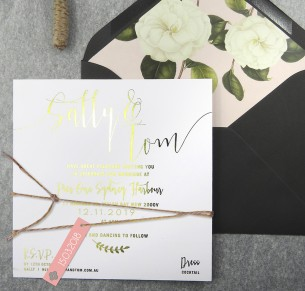 gold and rose gold foil! simply sublime invitation
