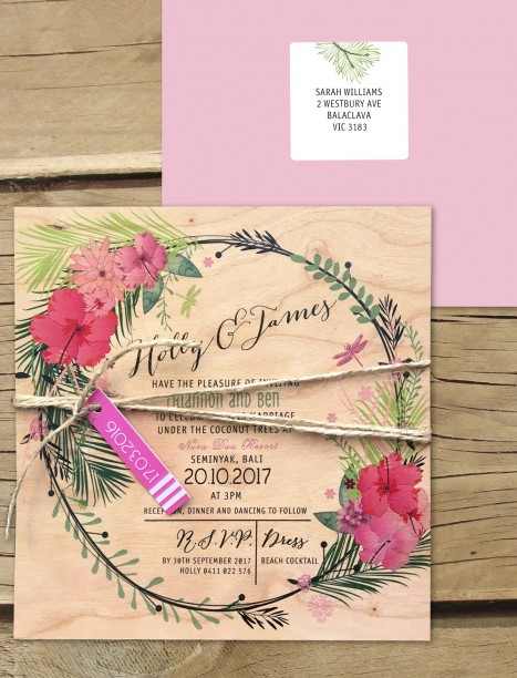 Tropical paradise invitation printed on wood!