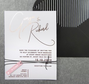 Rose gold foil Berlin invitation