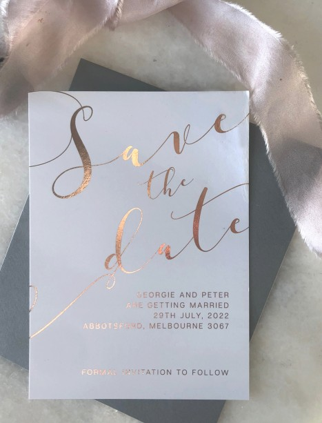 save the date metallic foil rose gold and gold romantics