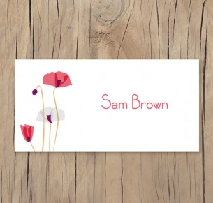 paper poppies placecard