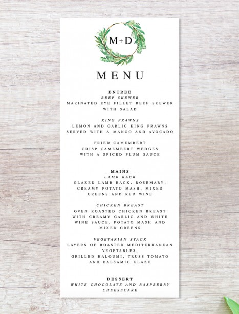 watercolour lush menu