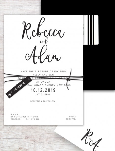 Crush flat card wedding invitation