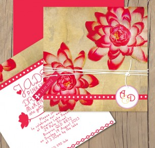 Lotus Flower wedding invitation