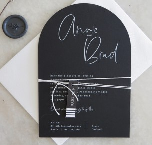 arch + white ink  the brad invitations black