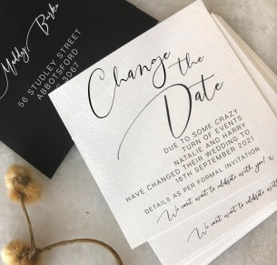 Change the date! oh so chic - CoVID-19 postponed card