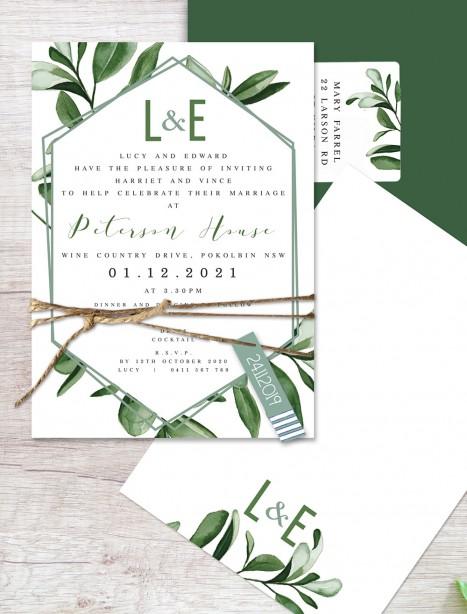 Garden state flat card wedding invitation