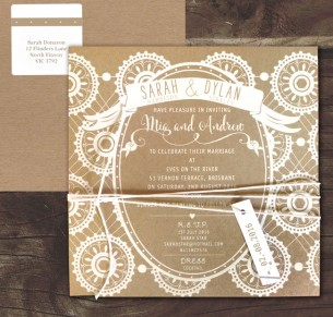 Rustic lace white ink on kraft/black invite