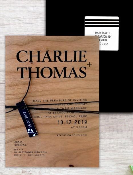 Printed on wood! Madrid flat card invitation