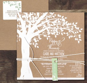 white ink on kraft - under the oak invitation