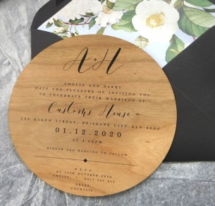 Wood! Bliss circle invitation