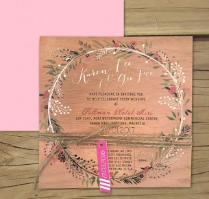 ROSE GOLD FOIL ON WOOD! CHARMED INVITE